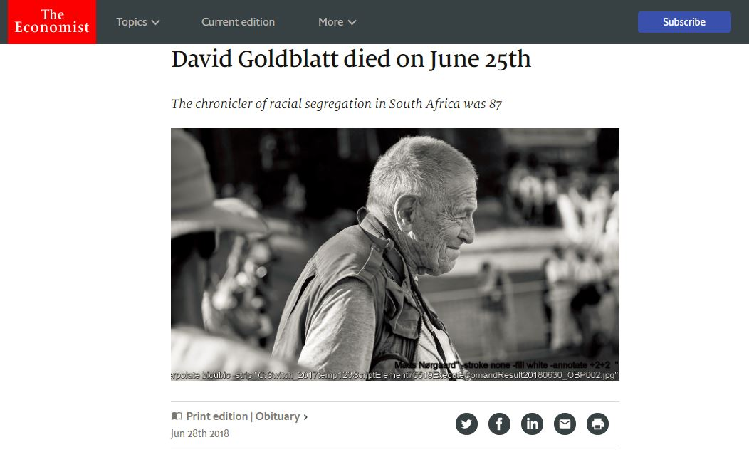 David Goldblatt died on June 25th