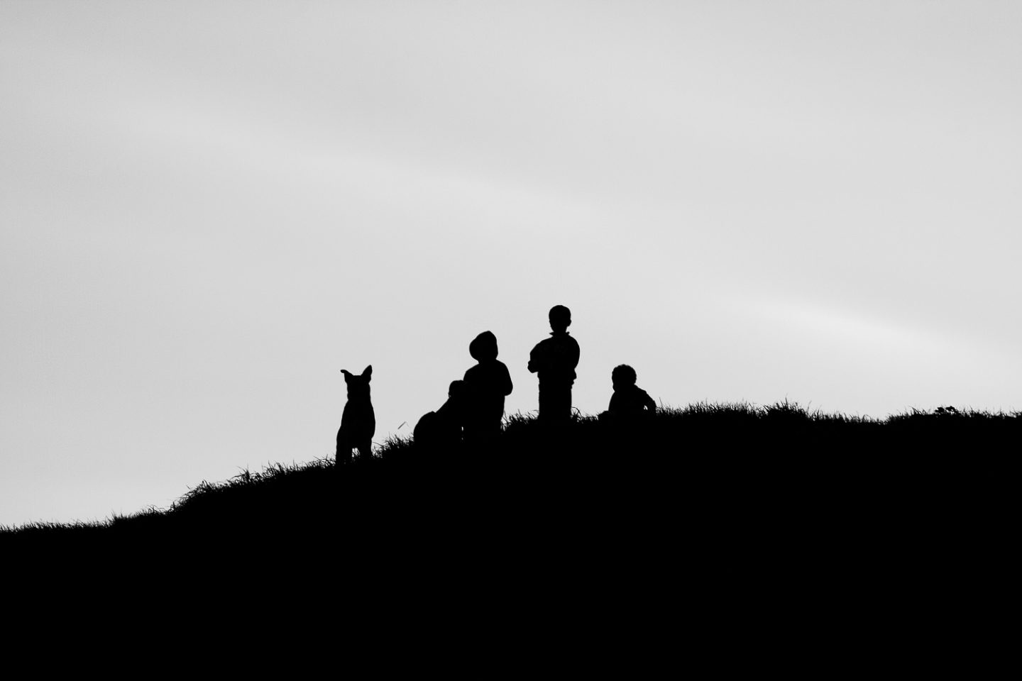 Children and dog on the hills of Karbonkelberg, Hout Bay, 2010.