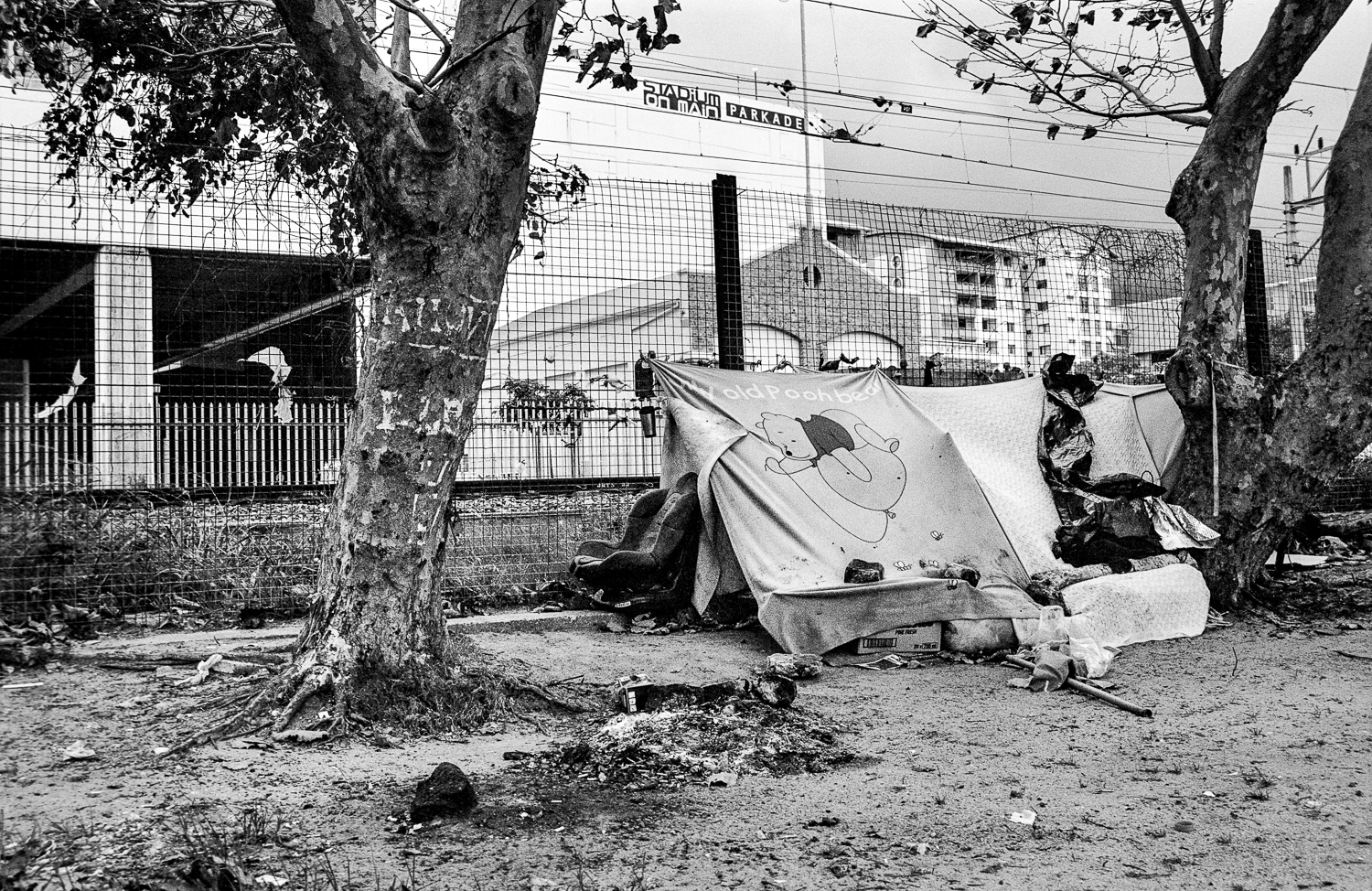 Campsite for shelter at the back of Stadium on Main, Claremont, 2013.