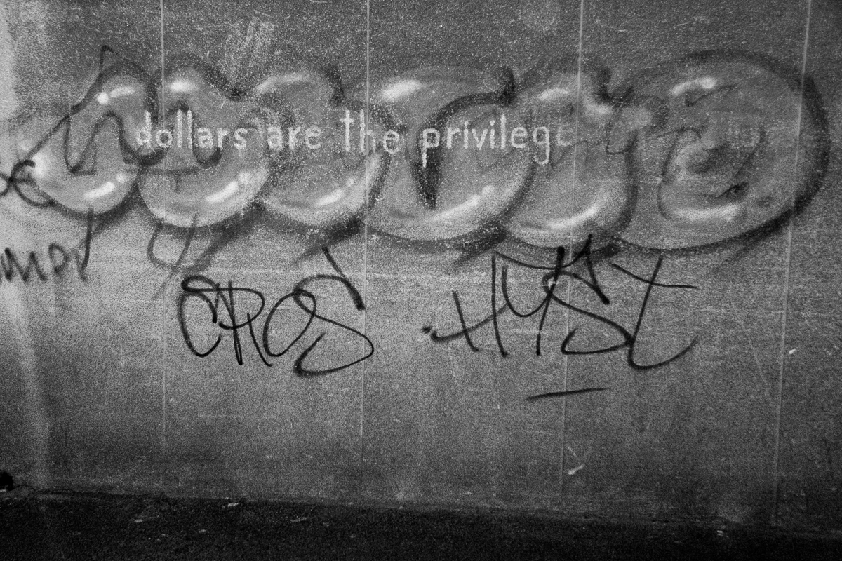 """Dollars are the privilege"" graffiti in Lower Main Road, Salt River."