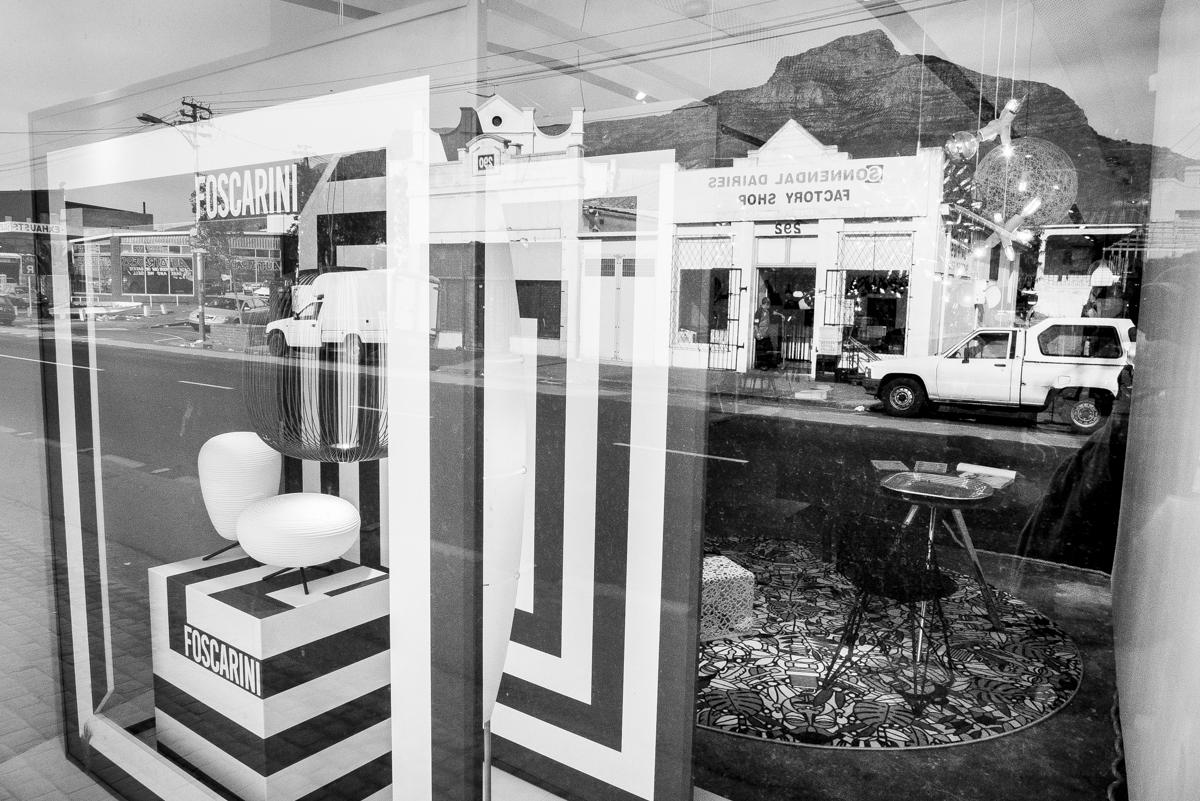 Storefront with expensive designer goods in Lower Main Road, Salt River.